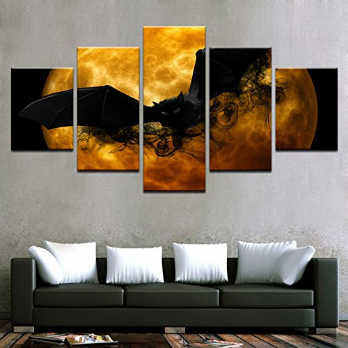 and HD druckt Wall Art Home Einrichtung Wohnzimmer 5 Stück Crazy Halloween Poster Schwarze Fledermaus Orange Moon Bilder, 30 x 40 30 x 60 30 x 80 cm, Rahmen (Halloween Wall Art)
