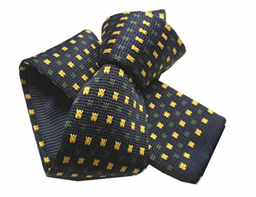 Avantgarde - CRAVATTA uomo in maglia blu cravatte tricot con microdisegni gialli e verdi