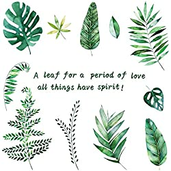 Lumanuby 1x Grüne Tropische Pflanze Verlässt Wand Aufkleber Abnehmbarer Blätter Wand Decal für Wohnzimmer und Schrank, Wandtattoo Serie