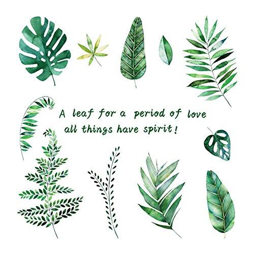 Lumanuby 1x Grüne Tropische Pflanze Verlässt Wand Aufkleber Abnehmbarer Blätter Wand Decal für Wohnzimmer und Schrank, Wandtattoo Serie -