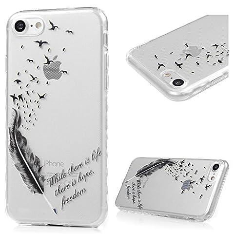 iPhone 7 Hülle Kasos iPhone 7 TPU Silikon Case Schutzhülle Ultra Dünn Painted Transparent Handy Cover Wellenförmige Border Handytasche mit Feder Vögel Design