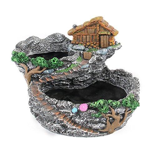 OUNONA Fairy Kunstharz Übertopf Modern Garden Miniatur Sweet House Cottage Blumentopf DIY Bonsai Töpfe für Sukkulenten Indoor Outdoor Tabletop Dekoration (grau)