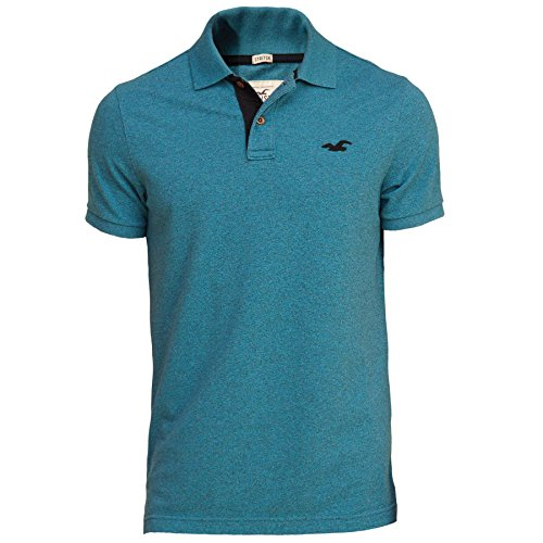 hollister-homme-stretch-contrast-pique-polo-top-shirt-courte-taille-small-textured-bleu-624777512