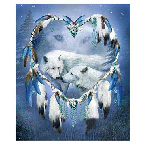 (WuWxiuzhzhuo Räumungsverkauf White Wolf Love Shiny Harz Diamant Malerei Kit DIY Handmade Home Wall Decor)