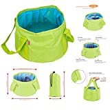 GoingMen 15L Collapsible Water Camp Bucket, Ultralight Folding Wash Basin Portable Camping Outdoor Water Storage Pouch for Hiking Fishing Picnic Travel (Green)