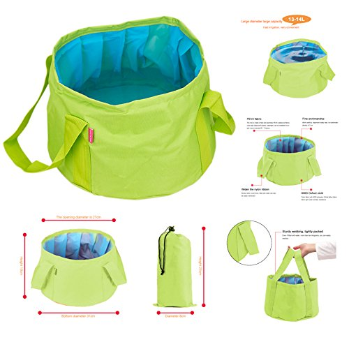 GoingMen 15L zusammenklappbarer Wasserlager, Wasseraufbewahrung, Tasche für Wanderungen, Angeln, Picknick, Reisen., damen Herren Kinder, grün