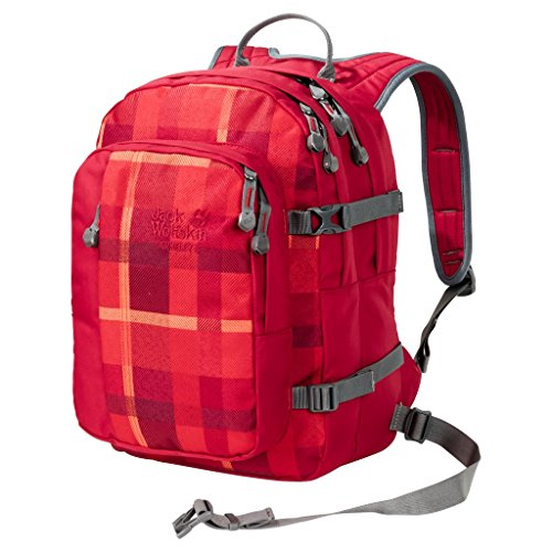 Jack Wolfskin Unisex - Kinder Rucksack Berkeley S, 38 x 29 x 28 cm, 23 liters indian red woven check