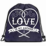 fjfjfdjk Nautical Love My Anchor Signs Symbols Vintage Drawstring Backpack Gym Sack Lightweight Bag Water Resistant Gym Backpack for Women&Men for Sports,Travelling,Hiking,Camping,Shopping Yoga