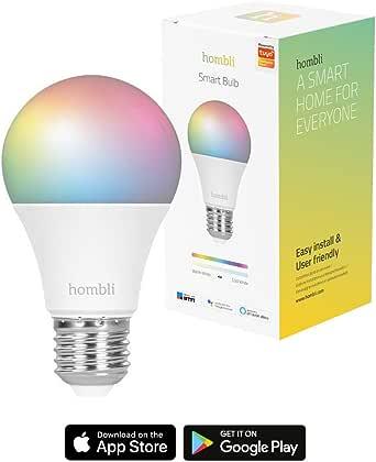 Hombli Lampadina Smart | lampadina WiFi Smart a Led 9W E27, Compatibile con Alexa, Google Home, Lampadina che cambia colore, Dimmerabile, Controllo remoto - Hombli App