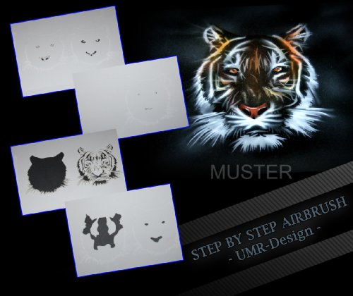 Step by Step Airbrush Schablone Tiger AS-033
