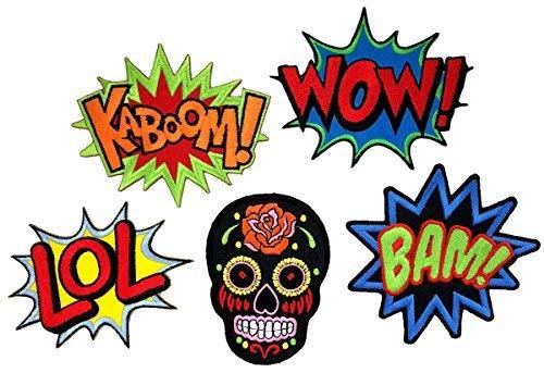 i-Patch - Patches - 0104 - Set - Wow - LOL - Bam - Kaboom - Totenkopf - Stickerei -...