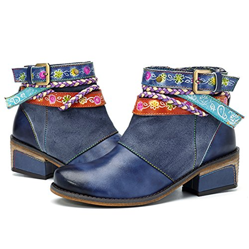502c2bb0118 Socofy Mujer Botines de Trabajo en Piel Genuina Zapatos de Trabajo  Mocasines de Primavera Flores Botas