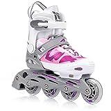 Patines en línea Meteor para mujer hombre y niños disponibles en azul y rosa Gama de patines ABEC7 con ruedas de carbono y forro interior talla ajustable Area (S 30-33, Rosa)
