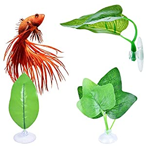 laamei 3 Pack Betta Hammock Plant Leaf Pad Fish Spawning Grounds Breeding Resting Hiding Bed Folating Aquarium Tank…