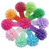 Rocita 100Baby Mädchen, Colorful Flower Haar Spitze Headbands Weiche elastische Spitze Haar Band für Kleinkinder Infant Babys Kinder Haar Zubehör