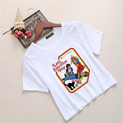 Satan Sexy Kostüm - TYML Heißer Frauen Kurzen Ärmeln T-Shirt Sexy Kühlen Satan Vintage Tees Gestellte Tops Harajuku Mode Lustige Weibliche T-Shirt Crop Tops