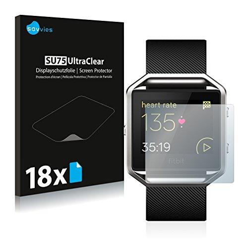 Savvies 18x Schutzfolie kompatibel mit Fitbit Blaze Displayschutz-Folie Ultra-transparent