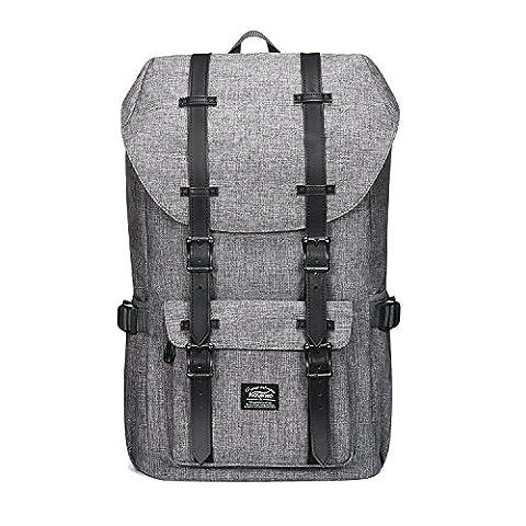 """Rucksack Damen Daypack Herren Schulrucksack KAUKKO 17 Zoll Laptop Backpack für 15"""" Notebook Lässiger Daypacks Schultaschen of 2 Side Pockets für Wandern Reisen Camping (1linen grau)"""