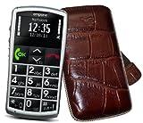 Original Suncase Tasche für / Emporia Talk Comfort / Emporia Talk Comfort Plus / Emporia Talk Basic / Leder Etui Handytasche Ledertasche Schutzhülle Case Hülle *Lasche mit Rückzugfunktion* in croco-braun