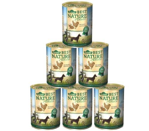 Dehner Best Nature Hundefutter Adult, Huhn und Kaninchen mit Nudeln, 6 x 400 g (2.4 kg) (Frische Fleisch Kaninchen)