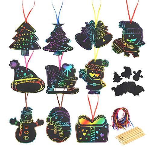 KATOOM 50stk Weihnachten Kratzbilder Set Weihnachtsdeko zum Basteln Kratzpapier Kinder Scratch Paper DIY Kratzbilderbastelsets zum Zeichnen 12 Holzstiften 50 Seil für Weihnachtsbaum Dekoration