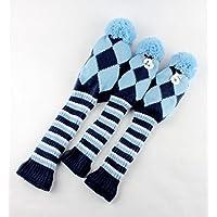 Golf Pom Pom Fundas Para cabezas de madera, Set de 3, para conductor y Fairway Wood, Blue & White