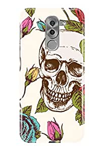 Honor 6X cover, Noise Printed Case Cover For Huawei Honor 6X Designed Specially As Hard Shell Case / Patterns & Ethnic / Skull With Roses Design - (GD-360)