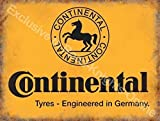 Continental neumáticos Amarillo firmar, negro caballo logotipo Alemán Neumáticos Para coches, motores, ciclos para casa, hogar, garaje, bicicleta tienda, hombre cave, vertiente o pub. Metal/Cartel De Acero Para Pared - 15 x 20 cm
