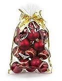 20 Stk. Christbaumkugeln 6cm Kuststoff bordeaux // PVC Weihnachtskugeln Baumschmuck Dekor Motive Plastik Christbaumschmuck Mix Set Weihnachten Geschenk Ornament