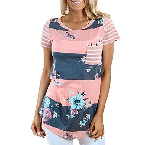 Short Sleeve Blouse Jimmkey Women Striped Floral Print Tops Tee Shirt (S, Pink)