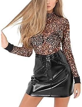 Simplee mujeres de cuero de imitacion de zipper Pencil mini falda con bolsillo