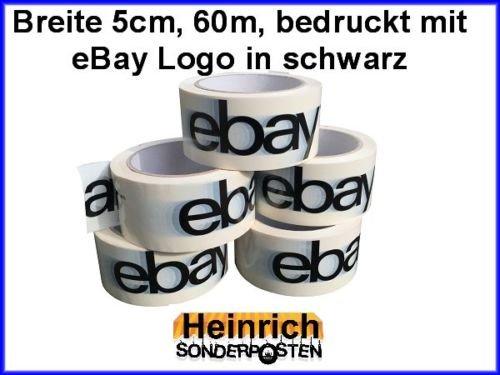 Preisvergleich Produktbild 1 x Rollen Klebeband Rolle bedruckt mit eBay Logo in schwarz Breite = 50 mm Länge = 66m