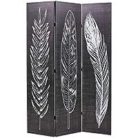 Festnight- Biombo de Plumas Divisor Plegable 120x180 cm Blanco y Negro - Muebles de Dormitorio precios