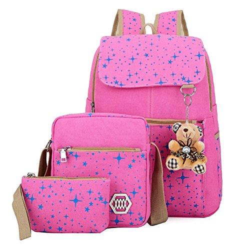 Honeymall Mädchen Gedruckte Canvas Schulranzen Set Freizeitrucksack Rucksäcke Schulrucksack Schultertasche Geldbeutel(Schwarz) Pink