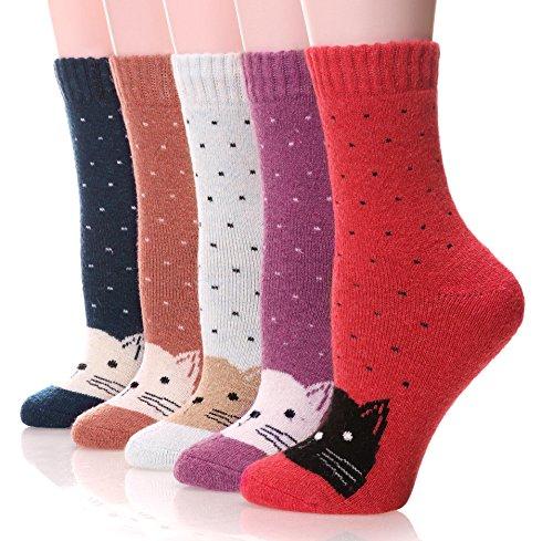 EBMORE Damen wollsocken dick schwere wärmekabine fuzzy winter warm crew socken für kaltes wetter im 5er-pack Fit Womens Shoes Size 6-10 Cat