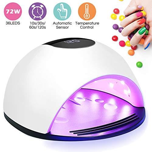 winpok lampada unghie uv led,72w nail lamp portatile per manicure/pedicure con automatico sensore, può curare rapidamente i raggi uv gel gel costruttore, 4 timers da 10s/30s/60s/120s, display lcd