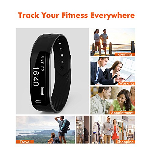 Ancheer Fitness Tracker, Activity Tracker Uhr Herzfrequenz Monitor Schritt / Schlaf / Kalorienzähler Call / SMS Erinnerung Armband Band Wasserdicht Wireless Bluetooth Wristband Smart Pedometer - 6