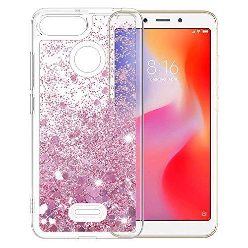 MASCHERI Funda para Xiaomi redmi 6, Brillante Bling Glitter Lindo Sparkly Crystal Protectora a Prueba de Golpes de Silicona Caso - Oro Rosa