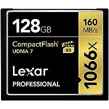 Lexar LCF128CRBEU1066 - Tarjeta de memoria Profesional Compact Flash de 128 GB (con hasta 160 MB/s, Clase UDMA 7, velocidad de 1066x)