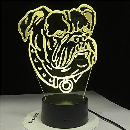 KangYD Bullterrier Haustier Hund 3D Illuision Lampe, LED Nachtlicht, kreative Geschenk, Remote 7 Farbe (Crack White),Stimmungslampe