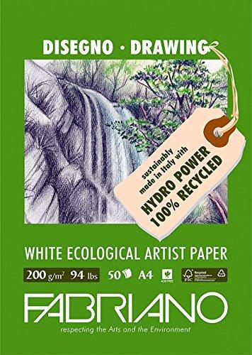 Fabriano 22529742 Zeichenblock, FSC 100% Recycling, weiß, 29,7 x 42 x 0,5 cm