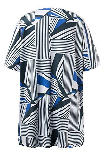 Ulla Popken Damen große Größen | Longshirt | geometrisch gemustert | Falten am Rundhalsausschnitt | langer Halbarm | bis Größe 66+ | 710325 Meerblau