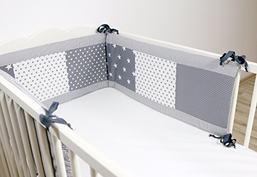 BEBILINO ® Nestchen Bettnestchen & Bettumrandung für Babybetten GRAUE STERNE (210 x 30 cm)