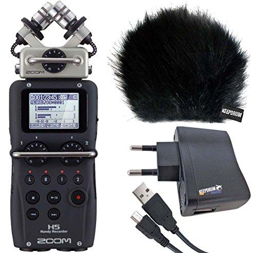 Zoom H5Handy Recorder + protezione antivento WSBK KEEPDRUM + adattatore bs510+ 1,5m mini usb/cavo USB usb03