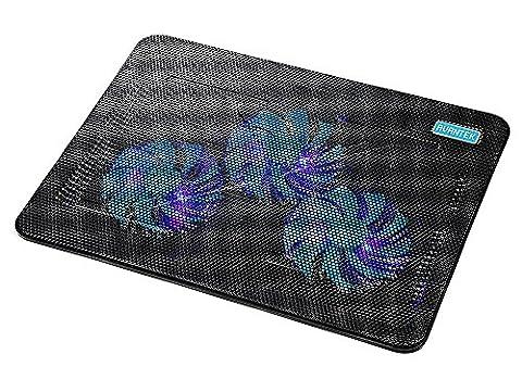 AVANTEK Refroidisseur de 17 Pouces pour Ordinateur Portable PC Notebook Laptop avec 3 Ventilateurs à LED Bleue de 110mm