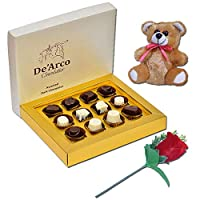 De'Arco Chocolatier Valentines Day Chocolate Gift, Premium Luxury Chocolates, 12pcs + Free Teddy and Rose