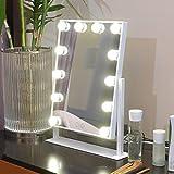 HRRH Make-up-Spiegel - LED-Kosmetikspiegel Tischlampe mit Spiegel Große einseitige Glühbirne Schminkspiegel Zwei-Farben-Dimming Beauty Spiegel, White