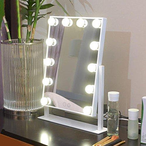 HRRH Make-up-Spiegel - LED-Kosmetikspiegel Tischlampe mit Spiegel Große einseitige Glühbirne...