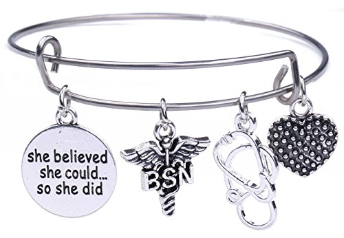 fishhook Pulsera con Colgante de corazón de Estetoscopio con Texto en inglés She Believed She Can So She Did