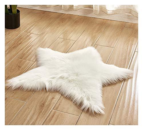 ASKEN Weich Faux Fur Schaffell Boden Teppich,Star Kleine Sitzmatte Shag Stuhl Couch Abdeckung,Luxuriös Künstliche Wolle Teppich für Schlafzimmer Küche Wohnzimmer Kinderzimmer Weiß Durchmesser 60cm (Kissen Boden Shag)